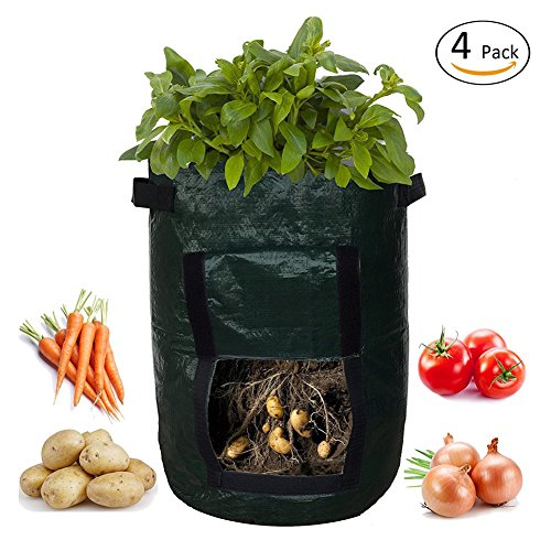 SOME 4-Pack 10 Gallon Potato Grow Bags Garden Vegetables Planter Bags with Access Flap and Handles Heavy Duty Aeration Fabric Pots