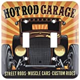 HOT ROD GARAGE Double Light Switch Plate Cover Muscle Car Street Rod MAN CAVE