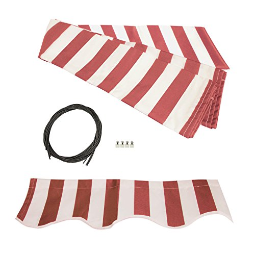 ALEKO FAB10X8REDWT05 Retractable Awning Fabric Replacement 10 x 8 Feet Red and White Striped (Red Awning Striped)