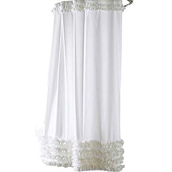 fish Volantes cortina de ducha de línea Repelente de Agua moho-libre Cortina de poliéster Baño: Amazon.es: Hogar