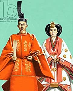 Hirohito and his wife in ceremonial robes at the coronation in 1928(453631), Alu-Dibond, 20 x 30 cm