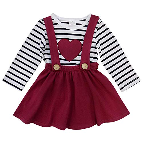 So Sydney Suspender Skirt 2 Piece Outfit, Girls Toddler Winter & Spring Holiday Dress Up Boutique Outfit (2T, Burgundy Heart Stripe)