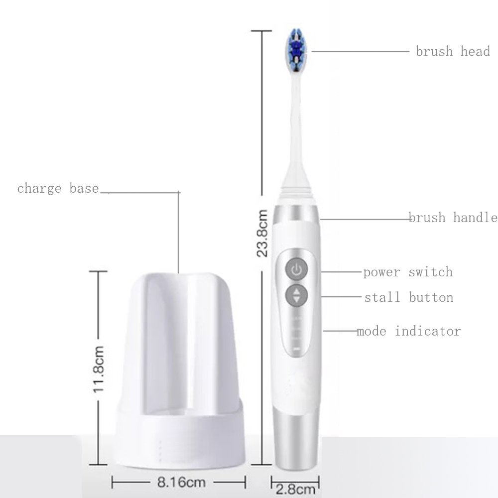 Jiuhuazi Cepillo de Dientes eléctrico Sonicare Impermeable Recargable UV desinfectante 3 Modo de Limpieza 3 Cabezas de Cepillo de Repuesto 2 Minutos ...
