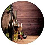 Round Rug Mat Carpet,Wine,Still Life of Wine with Wooden Keg Rustic Concept Tasting
