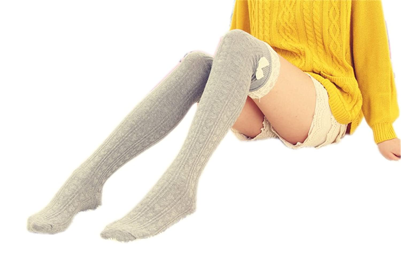 AnVei-Nao Ladies Girls Winter Bowknot Leg Warmer Lace Knit Crochet Sock Leggings