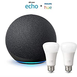 Best Epic Trends 51cLxGBPEAL._SS300_ All-new Echo (4th Gen) - Charcoal - bundle with Philips Hue Bulbs (2-pack)