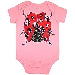 Peek A Zoo Infant Baby Become an Animal Short Sleeve Onesie Bodysuit - Ladybug Bubblegum Pink (6/12 Mo)