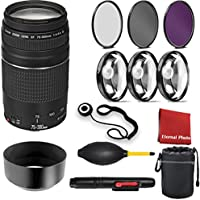 Canon EF 75-300mm f/4-5.6 III Telephoto Zoom Lens for Canon SLR Cameras with 3 Peice Filter Kit, Blower, Lens Hood, Lens Pen, Case, Cap Keeper, and Cleaning Cloth, 3 Piece Macro Closeup Kit