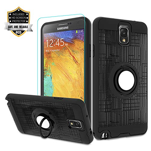 Galaxy Note 3 Case, Note 3 Phone Case with HD Screen Protector,Atump 360 Degree Rotating Ring Holder Kickstand Bracket Cover Phone Case for Samsung Galaxy Note III,N9000,N9005,Note 3 Black