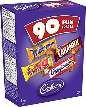 Caramilk Chocolate Bar - Cadbury Fun Treats Chocolate, 90 Count - Wunderbar, Mr. Big, Caramilk, Crispy Crunch {Imported from Canada}