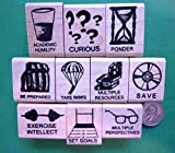 Quality Custom Rubber Stamps Scholarly Traits, Teacher's Set of 10 Wood Mounted Rubber Stamps Carved Wooden Stamps
