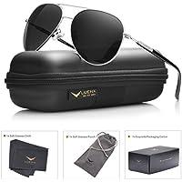 luenx Mens Aviator anteojos de sol polarizadas con accesorios–Protección Uv 400Marco Metálico grande para exteriores