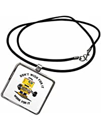 Carsten Reisinger - Illustrations - Do not wish for it - work for it funny robot quote - Necklace With Pendant