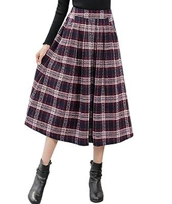 Femirah Women's Fall Winter Midi Pleated A Line Skirt