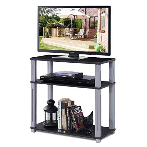Tangkula TV Stand, 3-Tier TV Stand Storage Console with Shelves for Home Office, Sturdy & Stable Construction Display Cabinet, TV Entertainment Center Console (Black)