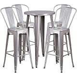 Flash Furniture 24'' Round Silver Metal Indoor-Outdoor Bar Table Set with 4 Cafe Stools