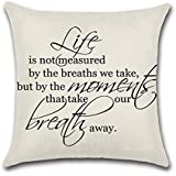"""YANGYULU Quote Words Cotton Linen Home Decorative Throw Pillow Case Sofa Cushion Cover 18"""" x 18"""" (Life)"""