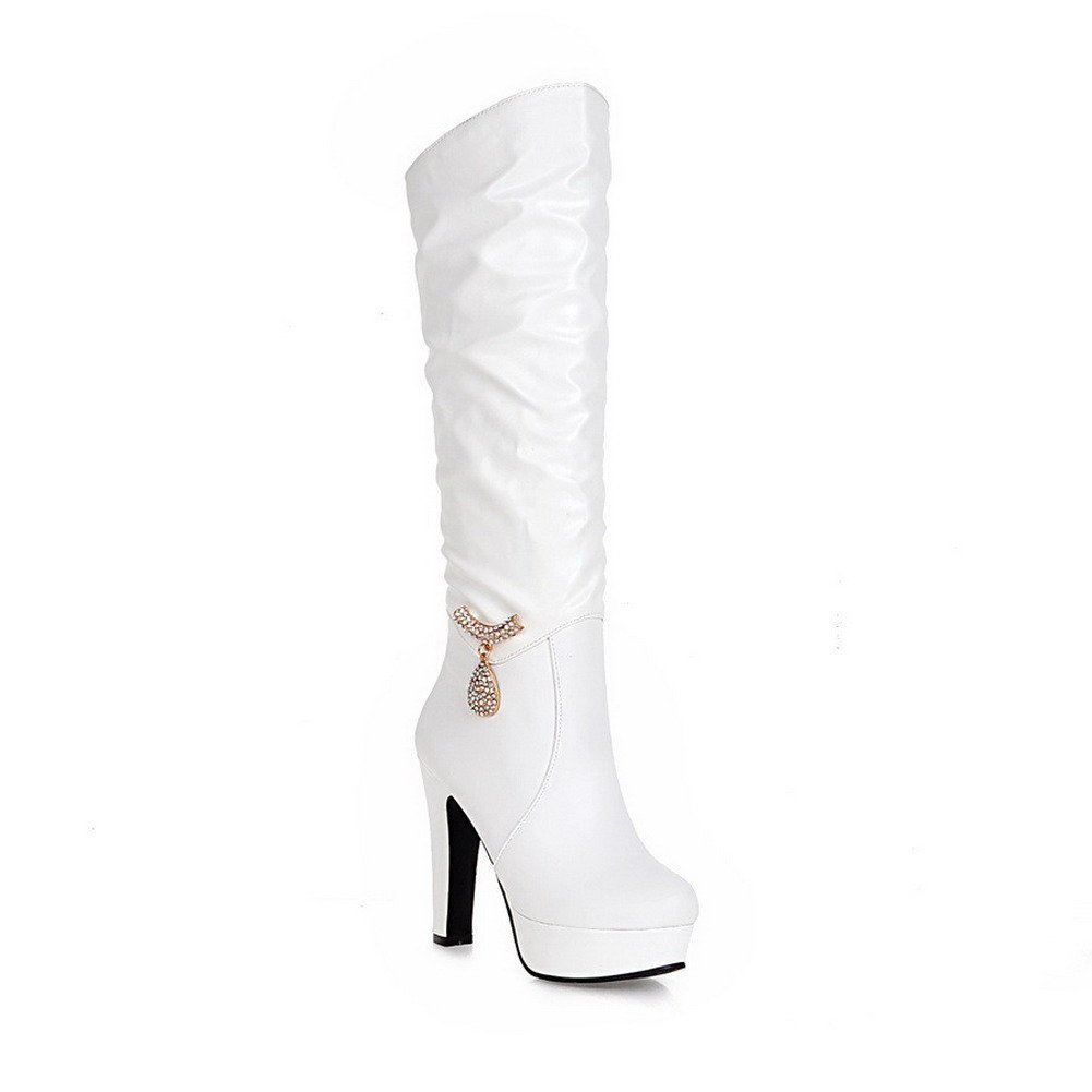 AllhqFashion Women's Solid PU High-Heels Round Closed Toe Pull-on Boots, White, 37 by AllhqFashion