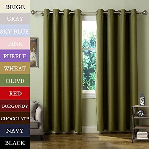 Macochico Extra Wide Indoor Beige Curtain Panels 150W x 102L Windproof Noise Isolation Dustproof Home Decorations Blackout Drapes Bedroom Living Room Office Library Patio Garden 1 Panel