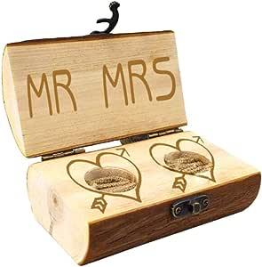 HOMEDAI - Caja rústica para Anillos de Compromiso, Caja de Madera Personalizable para Anillos de Compromiso, Caja de Anillo grabada Personalizada, Caja de Anillo de proposición de Matrimonio: Amazon.es: Hogar