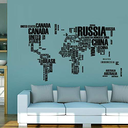 Atiehua Pegatinas De Pared 3 Colores Mapa Del Mundo Pegatinas De Pared Letras Originales Mapa Arte De La Pared Dormitorio...