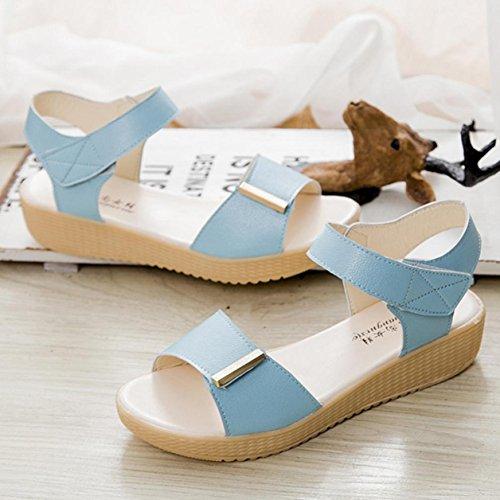 Sandalias de mujer, Internet Sandalias caseras del verano de las mujeres calzan los zapatos de la playa Azul