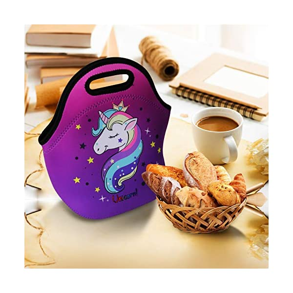 Cute Unicorn Lunch Bag for Kids, Waterproof Insulated Neoprene Lunch Tote with Zipper for School Work Outdoor (Purple002… 7