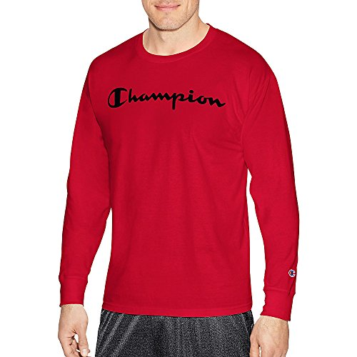- Champion LIFE Men's Cotton Long Sleeve Tee, Team Red Scarlet/Patriotic Script, Large
