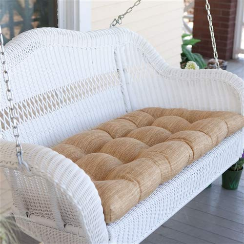 - CHOOSEandBUY White Resin Wicker Porch Swing with Comfort Spring and Hanging Hooks and Sand Cushion Rocking Chair Outdoor Patio Rocker