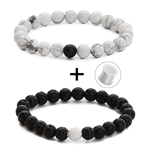 Couples His and Hers Bracelets Black Lava Beads Agate & White Howlite 8mm Beads Matching Distance Bracelet(2 pcs) (Black Lava Beads Agate & White Howlite) by Funlife Home
