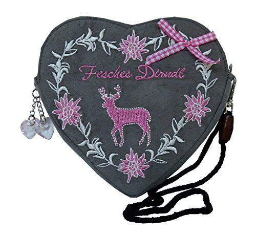 Damen Dirndl Handtasche Herz Umhängetasche - Herztasche (Fesches Dirndl Hirsch pink / rosa (grau))