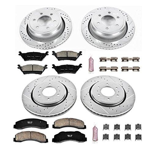 Power Stop K6268 Front & Rear Brake Kit with Drilled/Slotted Brake Rotors and Z23 Evolution Ceramic Brake Pads
