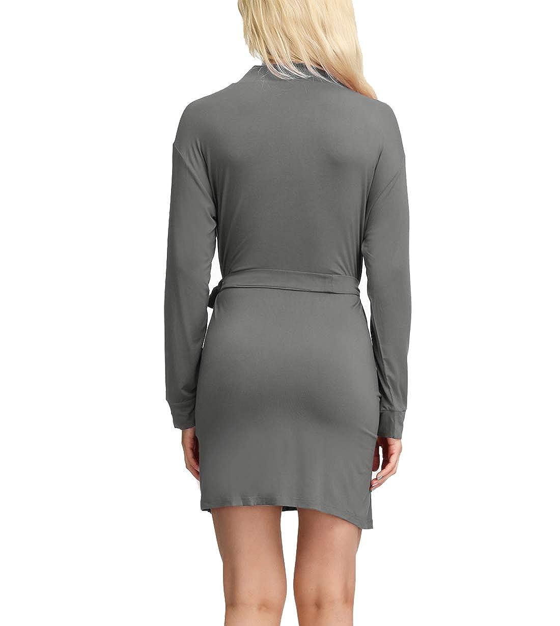 Womens Cotton Kimono Robes Lightweight Robe Short//Long Knit Bathrobe Soft Sleepwear Ladies Loungewear S-XXL