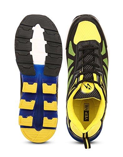 Yepme - Zapatillas de atletismo de Material Sintético para hombre multicolor amarillo y negro