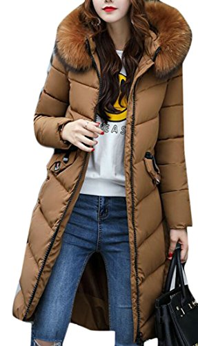 Down Sleeve Fur UK Color Jacket Winter Womens Long 2 today soldi Hooded Faux Collar Warm 7wqCfZ00