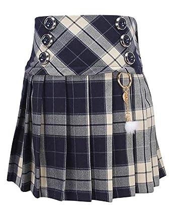 d48767fc0d57 Cutecumber Girls Coat Fabric Checkered Navy Skirt-2798B-NAVY  Amazon ...