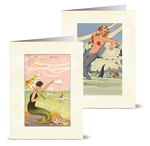 Vintage Mermaids - 36 Note Cards - 12 Designs - Blank Cards - Off-White Ivory Envelopes Included