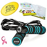 Adjustable Jump Rope with Non-Slip Handles - Plus Skipping Song Book, Flying Disc - Fitness Toy for Kids and Adults - Girls and Boys - 100% Refund Guarantee