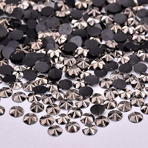 5mm Gold Color Flat Back Rhinestones Flowers Nail Art Decoration Glue On Round Crystal Stones Non Hotfix Strass Crystals (Jet Hematite)