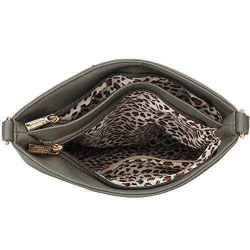 Xardi London-Custodia in pelle, stile borsetta-Borsa a spalla da donna Grey