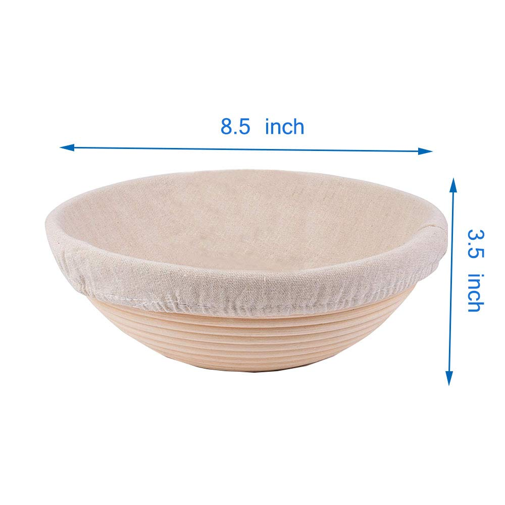 "Forsun 1pcs 8.5"" Round Banneton Brotform Bread Dough Proofing Rising Rattan Basket & Liner,Banneton Proofing Basket Set - for Home Bakers (Sourdough Recipe) & Bread Making"