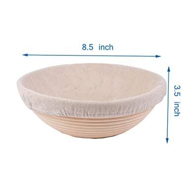 Forsun 1pcs 8.5  Round Banneton Brotform Bread Dough Proofing Rising Rattan Basket & Liner,Banneton Proofing Basket Set - for Home Bakers (Sourdough Recipe) & Bread Making