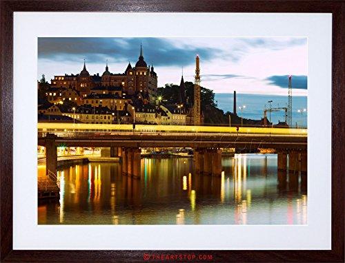 (The Art Stop Photo Cityscape Night City Stockholm Sweden Framed Print F12X4268)
