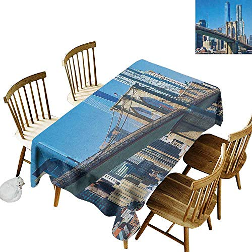 DONEECKL United States Durable Tablecloth Washed Lower Manhattan Skyline Brooklyn Bridge in New York City Famous Landmark Pale Blue Tan W52 xL70 -
