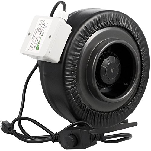 Yield Lab 6 Inch 440 CFM Duct Inline Fan With Variable Speed Controller For Grow Room Intake And Exhaust Ventilation (Line Fan Hydroponics Blower)