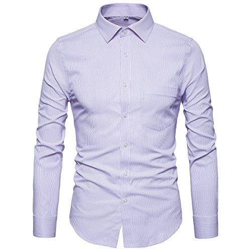 Purple Stripe Dress Shirt (Manwan walk Men's Regular Fit Stripe Button Down Collar Casual Slim Fit Dress Shirt G82 (Large, Purple))