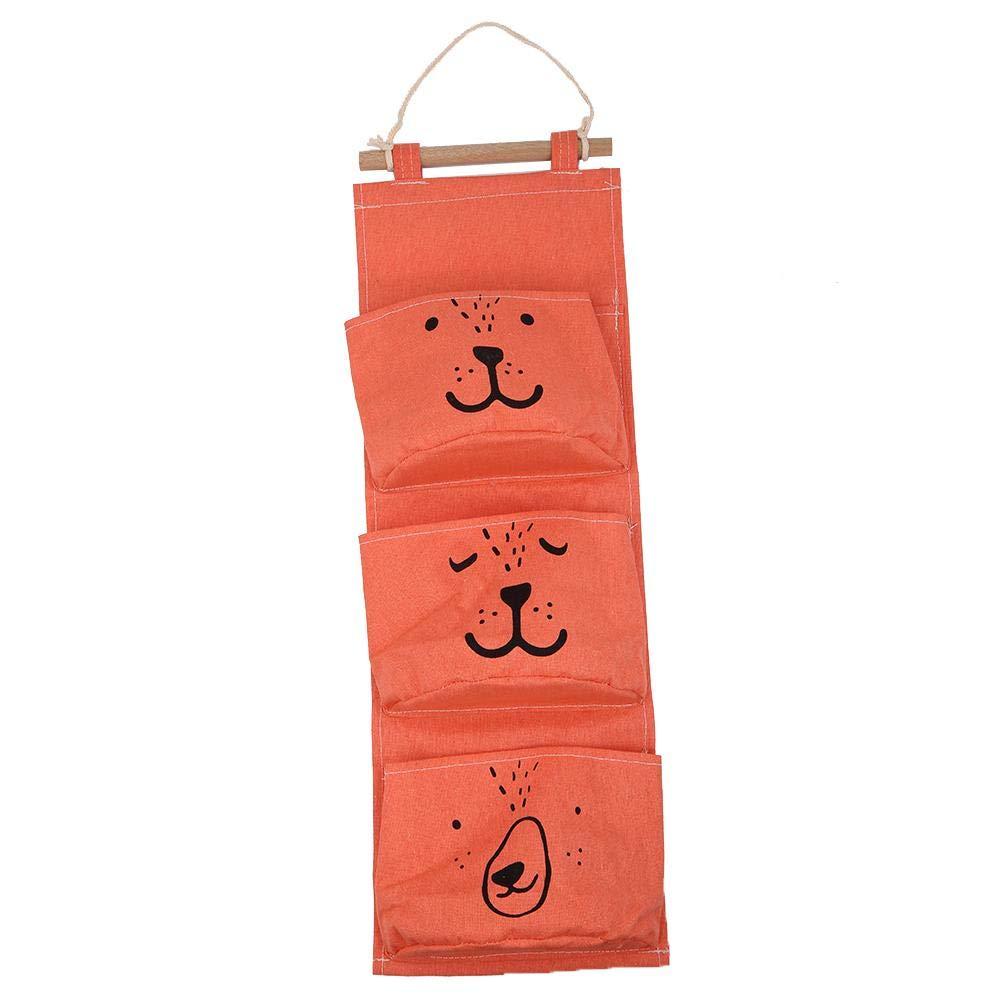 3 Pockets Hanging Storage Bag Wall Mounted Cotton Linen Wardrobe Wall Pouch Toys Holder Door Storage Pockets Bedroom Bathroom Organizer Orange