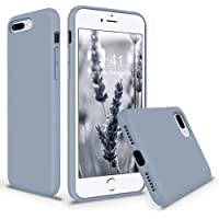 Soft Silicone Gel Rubber Bumper Case Microfiber Lining Hard Shell Shockproof Full-Body Protective Cover for iPhone Casehone 7 Plus /8 Plus (Lavender Grey)