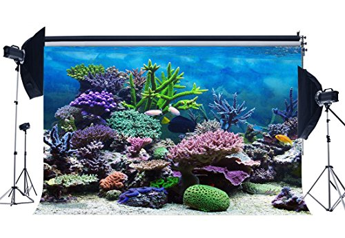 Gladbuy 7X5FT 3D Underwater World Backdrop Aquarium Backdrops Coral Fish Blue Sea Vinyl Photography Background Baby Shower Boys Girls Happy First Birthday Interior Decoration Photo Studio Props XM727