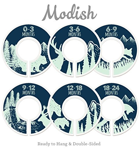Modish Labels Baby Nursery Closet Dividers, Closet Organizers, Nursery Decor, Baby Boy, Woodland, Tribal, Woodland Animals, Bear, Fox, Deer, Navy Blue, Mint